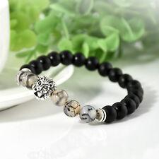 Fashion Black Lava Stone Silver Lion Beaded Cuff Men Charm Bangle Bracelet