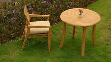 "2 PC OUTDOOR DINING TEAK PATIO SET - 36"" ROUND TABLE & 1 STACKING ARM CHAIRS NEW"