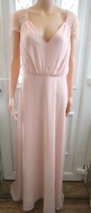 NEW DUSTY PINK LACE DETAIL EVENING MAXI DRESS SIZE 20 NEXT