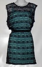 Speechless Junior Belted Lace Dress With Attached Full Slip Dress Navy & Aqua L