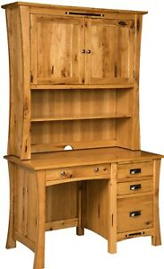 """Amish File Computer Desk Hutch Small Student Solid Wood File Drawers 48""""W"""