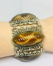 Funky Chunky Faux Tortoise Shell Lucite Bracelet 2 inches Wide Vintage Jewelry