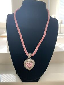 Judith Ripka Pink Stone CZ Sterling Heart Enhancer Pendant Twisted Cord Necklace