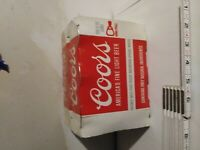 Vintage Coors Beer Cans, Pull Tabs, Opened on the Bottom, 6-Pack in Sleeve