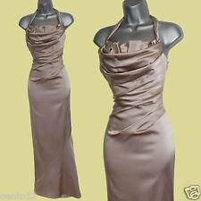 Karen Millen Nude Satin Cross Over Open Back Cocktail Long Gown Maxi Dress sz-12