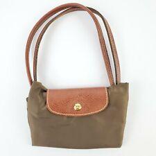 "Longchamp Green Handbag Purse Foldable Shopping Modele Depose Tote Bag 14"" EUC"