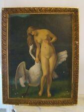 Signée Louis Garnier Huile sur carton, scène mythologique Léda et le cygne #884#