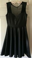 ASOS black size 8 leather look skater style dress with mesh insert & plunge back