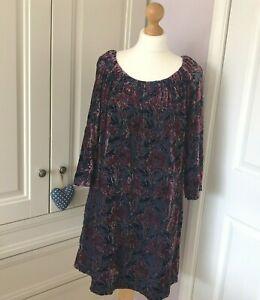 Laura Ashley Dress Devore Velvet Navy Berry Floral Swing Style Tie Back UK 12