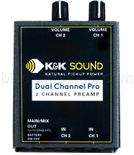 "K&K Sound Dual Channel Pro Stereo Guitar Preamp/EQ, Dual 1/4"" In, 1/4"" Out NEW!"