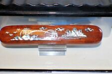 HAND CARVED LACQUERED WOOD PEN CASE MOTHER OF PEARL INLAY DESIGN