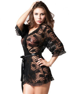 Plus Size Black Delicate Babydoll Lace Robe Lingerie Set Gown UK Size12 14 16 18