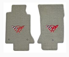 NEW! FLOOR MATS Gray 1997-2004 C5 Corvette Embroidered Red Crossed Flags Logo