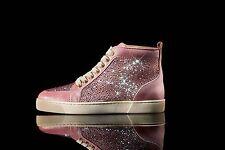 BNIB Pink Swarovski Crystal Louboutin Sneaker Trainer High Top Rantus 36.5 3.5