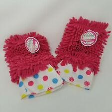 Microfiber glove duster pink 2 pack polka dots new with tags cleaning mitt
