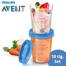 Philips Avent 10 Teile Becher Set Baby Nahrung (Becher+Deckel) SCF639/05