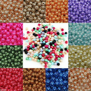 Wholesale Acrylic Pearl Round Spacer Loose Beads Jewelry Findings 4/6/8/10/12MM
