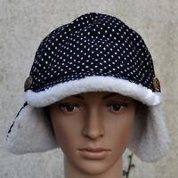Chapka bonnet chapeau casquette  Femme fourrure noir blanc pois ZAZA2CATS new