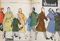 PUBLICITÉ DE PRESSE 1957 IMPERMÉABLE BLIZZAND TISSUS GARANTI BOUSSAC - GRUAU