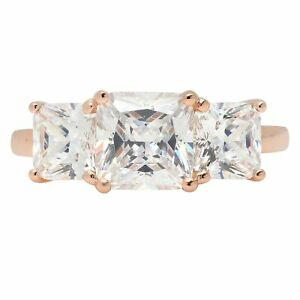 3.25 Emerald Cut Solitaire 3-Stone Engagement Wedding Promise Ring 14K Rose Gold