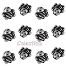 20 x Antique Silver Bee Charms - 3D Bumble Bees 9mm - Beautiful