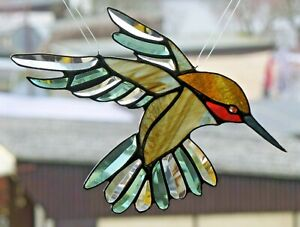 Bleiverglasung Fensterbild Suncatcher Facetten- Rotkehl- Kolibri in Tiffany
