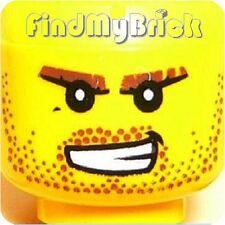 H061B Lego Head Dragon Knight Stubble Eyebrow Bared Pattern 7946 NEW