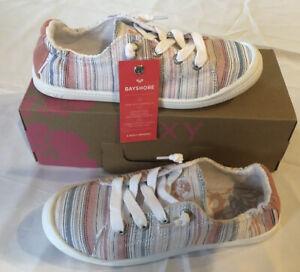 Roxy Women's Bayshore III Memory Foam Slip On Sneakers Multi Stripes Sz 7.5 NIB