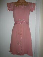 Vintage 1930s vestido de azúcar rosado Crepe Lentejuelas trabillas y Trasero fajín uno fuera de SML