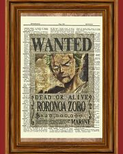One Piece Zoro Anime Dictionary Art Print Poster Wanted Picture Manga Book