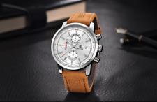 Mens Chronograph Wristwatch Leather Strap Luxury Quartz Movement Casual Sports