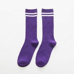 Women Cotton Socks High Crew Loose Soft Knitting Rib Solid Colors Knit Needles 1