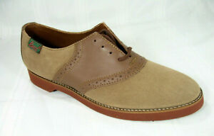 Bass Womens Saddle Shoes Beige Brown Lace Up Oxford Dirty Buc 4716 Sz 6.5 M