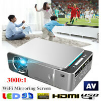 Portable HD T6 WiFi Mirroring Screen Silver LED Projector 1080P 5000lm AP