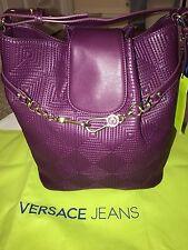 BNWT Versace Jeans púrpura bordado bolso. idea De Regalo!