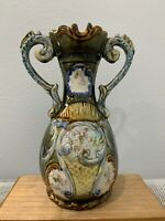 Antique European Majolica Pottery Double Handled Vase w/ Floral Decoration