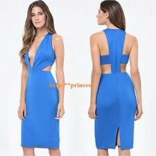 $140 NWT bebe blue deep v neck side cutout plunge midi top dress L large 10 club