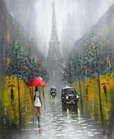 100%HAND-PAINTED ART ACRYLIC OIL PAINTING SNOWY FRANCE  CITYSCAPE 16X20INCH