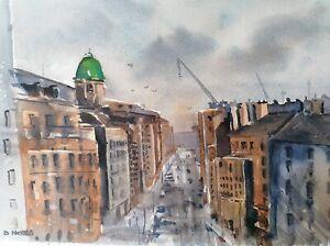 Glasgow Scotland Watercolour Painting - Signed Original