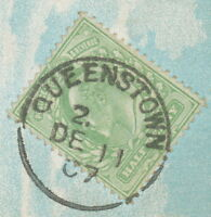 "GB ""QUEENSTOWN"" (COBH) CDS 1907 UNIQUE POSTMARK-ERROR: MISSING TIME AM/PM"