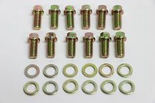 "SB Chevy Zinc 6pt Header Bolt 12pc Kit 3/8""-16 x 3/4"" Small Block 350 SBC #9824"