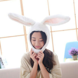 White Cute Girl Hat Plush Bunny Ears Hat Earflap Cap Head