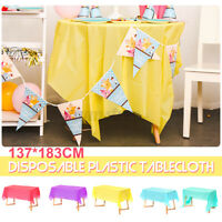 Plastic Tablecloth Disposable Wedding Party Cover Rectangle Waterproof 137X183cm