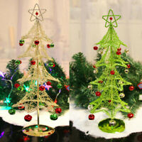 Metal Wire Mini Christmas Ornament Display Tree Stand with Colourful Bells