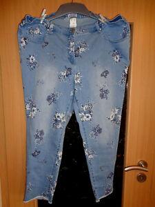 Angel of Style Stretch Jeans mit Blütenprint Gr. 50 neu knöchellang