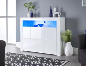 White Modern Matt Gloss Buffet Sideboard with Blue LED lights 3 Doors 116cm