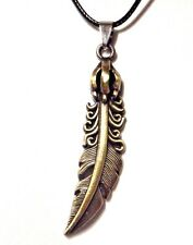 BRONZE QUILL & TALON PENDANT black cord necklace unisex claw bird feather new A1
