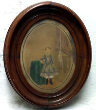 19th c. Victorian Salt Print Portrait of Sweet Little Girl in Walnut frame
