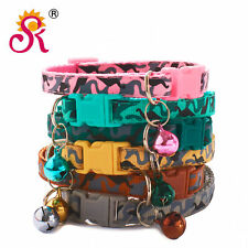 Camouflage Patterned Adjustable Kitten Cat Collar With Bell And Snap Buckle