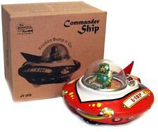 FLYING SAUCER Tin Toy Wind up UFO Space Ship Commander Bump and Go Action - SALE